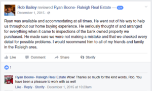 Ryan Boone Real Estate - Raleigh, NC - Review from Dr. Rob Bailey